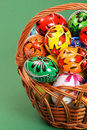 Easter Eggs In Wicker Basket On Green Royalty Free Stock Photo - 8586045