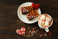Tasty Belgian Waffle With Hot Chocolate Royalty Free Stock Photography - 85806747