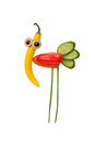 Funny Bird Made Of Vegetables Royalty Free Stock Image - 85813426