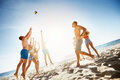 Group Friends Plays Ball Beach Sea Stock Images - 85813604