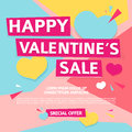 Template Design  Banner For Valentine`s Day Offer. Geometric Background With Decor Heart And Particles For Happ Royalty Free Stock Photos - 85813608