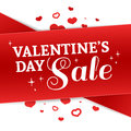 Template Design Valentine Banner. Happy Valentine`s Day Brochure With Decoration Red Tape For Sale. Romantic Poster With Royalty Free Stock Photos - 85813668