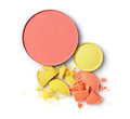 Round Blusher With Yellow And Orange Crashed Eyeshadow For Makeup As Sample Of Cosmetics Product Stock Images - 85816214