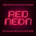 Neon Tube Alphabet Font. Type Letters And Numbers. Blue Color On A Dark Background. Royalty Free Stock Photo - 85830485
