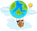 Happy Children Riding Balloon With Earth Pattern In Sky Royalty Free Stock Photography - 85848377