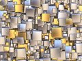 Abstract Background Made Of Golden And Silver Tiles. 3D Stock Photo - 85865550