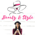 Beauty Style Girl Model Silhouette Text Concept Royalty Free Stock Photos - 85879638