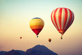 Hot Air Balloon Over Mountain On Sky Sunset Royalty Free Stock Image - 85883996