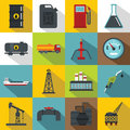 Oil Industry Items Icons Set, Flat Style Royalty Free Stock Image - 85897566