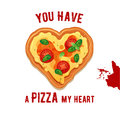Vector Fun Valentine Day Card You Have A Pizza My Heart. Stock Image - 85910471
