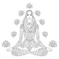 Girl Sitting In Lotus Pose.  Vector Ornate Boho Woman With Lotus Royalty Free Stock Photos - 85911778