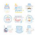 Little Prince Set Of Prints For Infant Boy Room Or Clothing Design Templates In Pink And Blue Color Stock Photos - 85916883