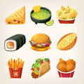 Fast Food Stickers Stock Photography - 85920862