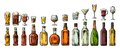 Set Glass And Bottle Beer, Whiskey, Wine, Gin, Rum, Tequila, Cognac, Champagne, Cocktail, Grog. Stock Photo - 85926370