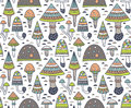 Hand Drawn Seamless Pattern With Geometric Ornamental Mushroom And Toadstools. Vector Illustration. Royalty Free Stock Photography - 85943287