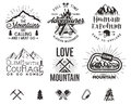 Set Of Mountain Climbing Labels, Mountains Expedition Emblems, Vintage Hiking Silhouettes Logos And Design Elements Royalty Free Stock Photo - 85952965
