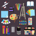 Realistic Art Supplies, Set Art Materials. Professional Art Marker, Colored Pencil, Sketchbook, Palette And Brush, Easel Stock Photography - 85953382