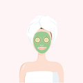 Woman With Beauty Mask On The Face With Towel On Head. Matcha, Avocado, Green Tea, Cucumber Facial Treatment. Vector Illustration Stock Images - 85961164