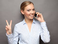 Portrait Of Smiling Business Woman Phone Talking And Show OK Royalty Free Stock Photo - 85961405