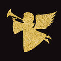 Gold Vector Angel Silhouette On Black Background Stock Photos - 85966853