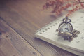 Time For Waiting With Vintage Pocket Watch On The Calendar And W Stock Image - 85968611