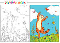Coloring Book. Red Cat Jumping Over The Butterflies In The Grass And Flowers On Background Of Blue Sky And White Clouds. Stock Image - 85985871