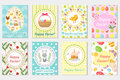 Happy Easter Greeting Card Collection, Flyer, Poster. Spring Cute Set Of Templates For Your Design. Vector Illustration Royalty Free Stock Images - 85988209