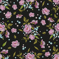Embroidery Colorful  Seamless Pattern With Roses And Forget Me N Royalty Free Stock Photo - 85993985
