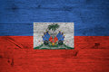 Haiti National Flag Coat Arms Painted Old Oak Wood Royalty Free Stock Image - 85995206