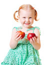 Girl With Peach Isolated On White Royalty Free Stock Photos - 8601188