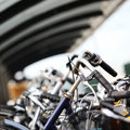 An Urban Abstract Of Parked Bicycles Stock Photography - 8606512