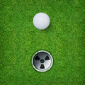 Abstract Golf Sport Background Of Golf Ball And Golf Hole On Green Grass Background. Stock Photo - 86001370