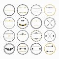Black And Golden Hand Drawn Empty Circle Emblems Set On White Background Royalty Free Stock Photo - 86028545