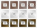 Greeting Cards Set Geometric Rose Gold And Silver Background Vector Stock Images - 86029764