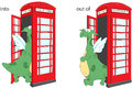 Cartoon Dragon Goes Into And Out Of Telephone Box. English Gramm Stock Photos - 86033853