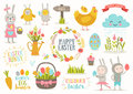 Set Of Easter Cartoon Characters And Design Elements Royalty Free Stock Photography - 86040547