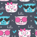 Seamless Cute Fashion Cat Pattern Vector Illustration Royalty Free Stock Image - 86047596