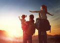 Family At Sunset Royalty Free Stock Image - 86069966