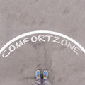 Comfort Zone Text On Asphalt Ground, Feet And Shoes On Floor Royalty Free Stock Images - 86092909