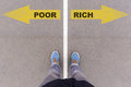 Poor Vs Rich Text Arrows On Asphalt Ground, Feet And Shoes On Fl Stock Image - 86096421