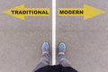 Traditional Vs Modern Text Arrows On Asphalt Ground, Feet And Sh Stock Images - 86106654