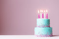 Birthday Cake With Pink Candles Stock Photo - 86109430