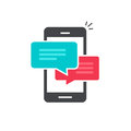Chat In Mobile Phone Icon Vector, Flat Smartphone Dialog Bubble Speeches Symbol Stock Images - 86150824