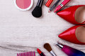 Make-up Items And Footwear. Stock Images - 86152254