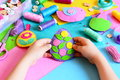 Kid Holds Easter Egg Decor In His Hands. Small Kid Shows His Easter Crafts Royalty Free Stock Photography - 86166977