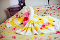 White Two Towel Swans And Red Rose On The Bed In Honey Moon Suit Royalty Free Stock Photography - 86179657