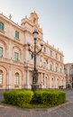 The Streetlight In The Background Building Of The University In Catania Royalty Free Stock Image - 86188136