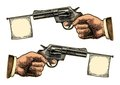 Male Hand Holding Revolver With Flag For Text. Vector Engraving Vintage Illustrations. Stock Photography - 86199742