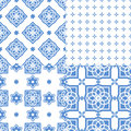 Portuguese Azulejo Tiles. Seamless Patterns. Royalty Free Stock Images - 86201019