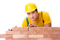 The Handsome Construction Worker Building Brick Wall Royalty Free Stock Photos - 86202698